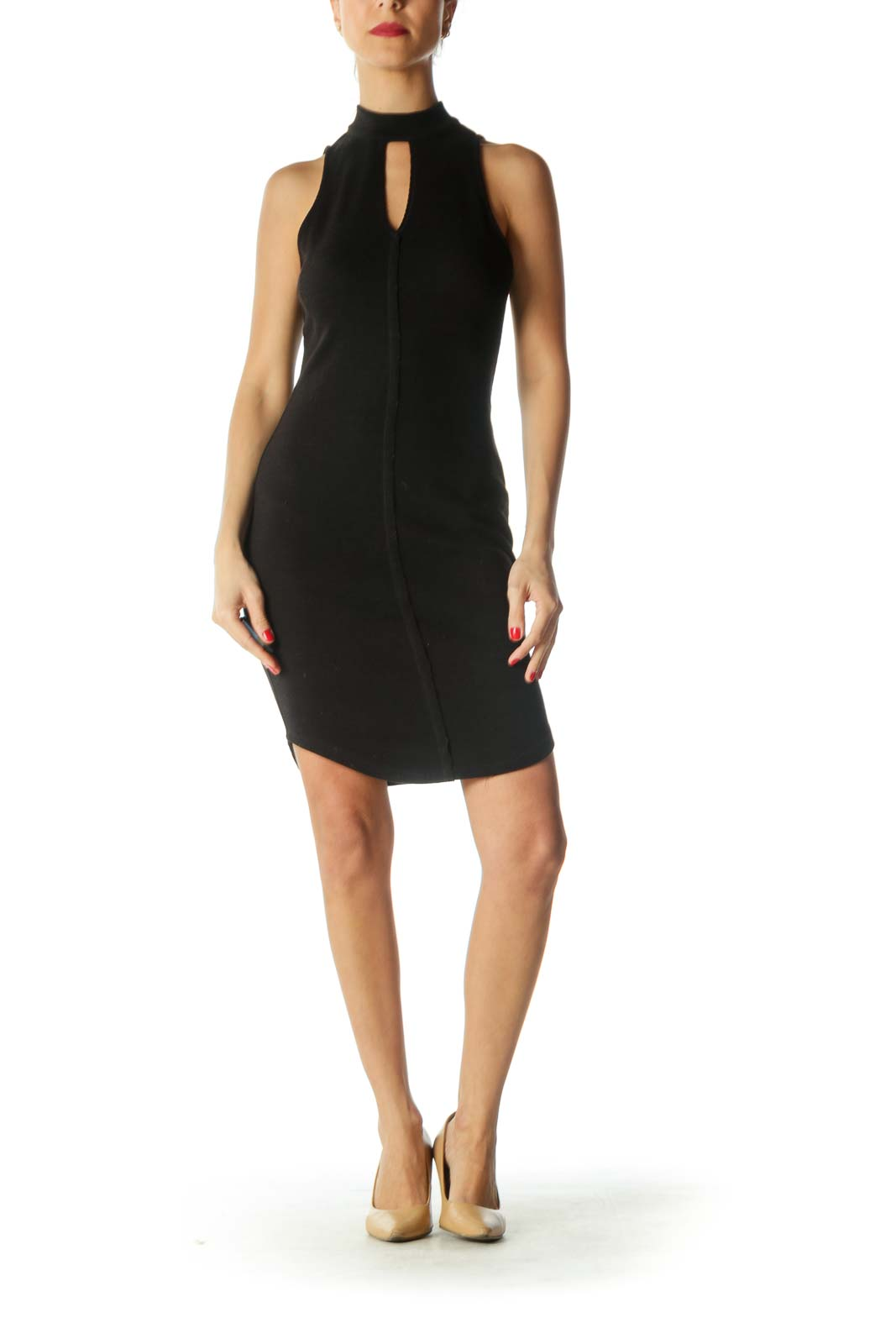 Black V-Neck Slim-Fit Ribbed Dress