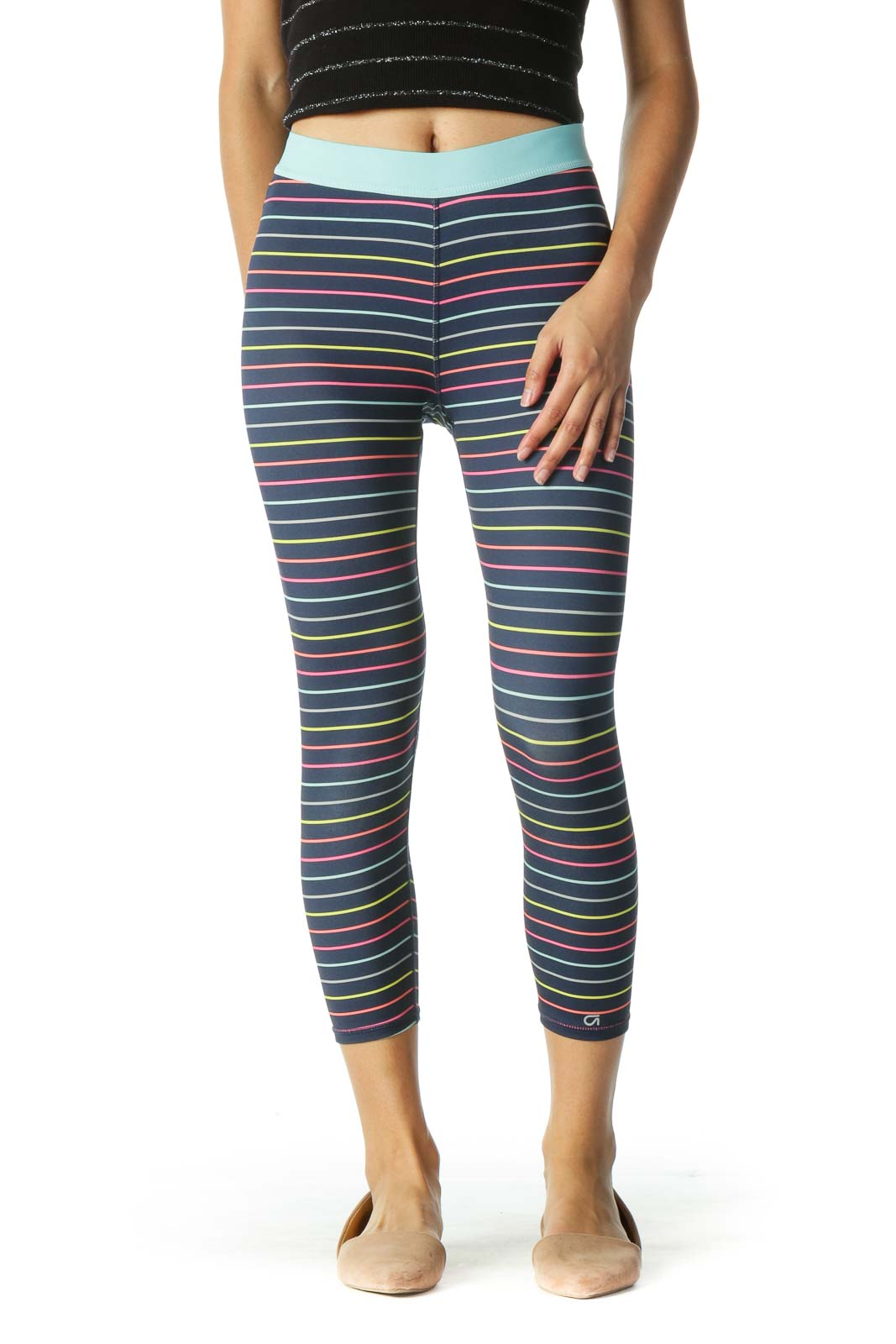 Blue Multicolor Striped Leggings