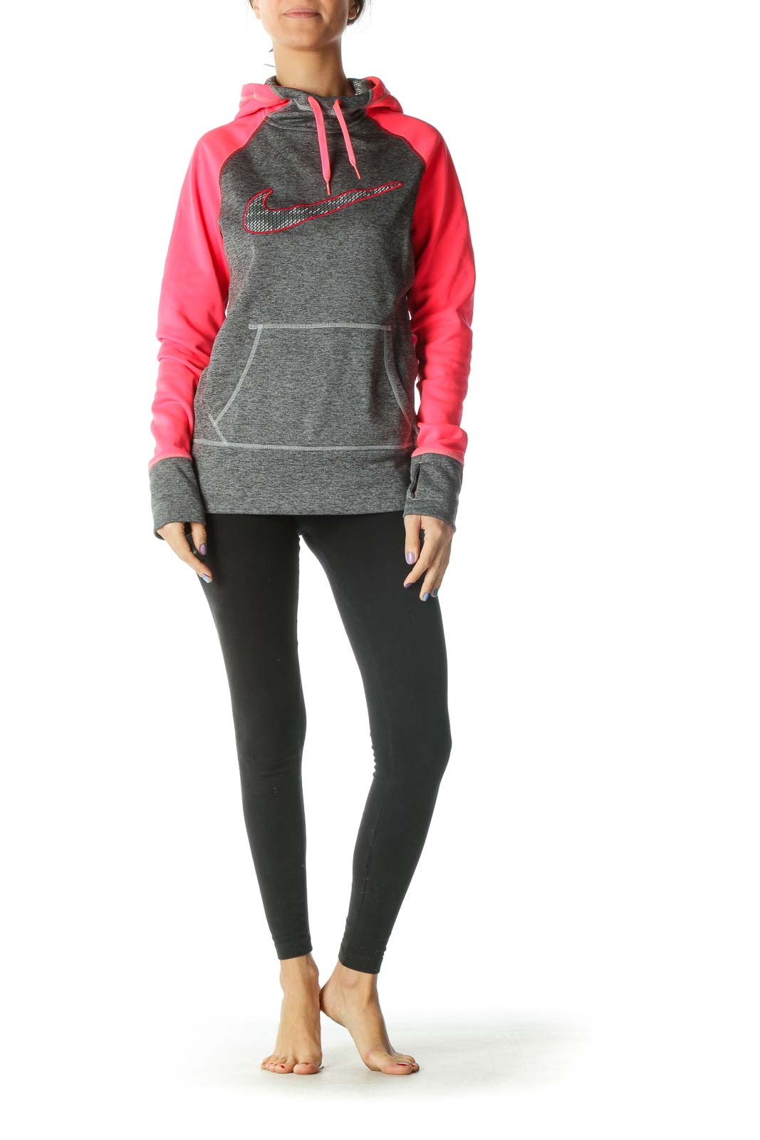 Grey and Neon Pink Hooded Sports Jacket