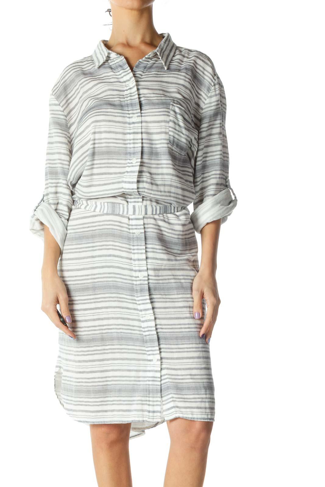 White Blue Striped Beach Dress