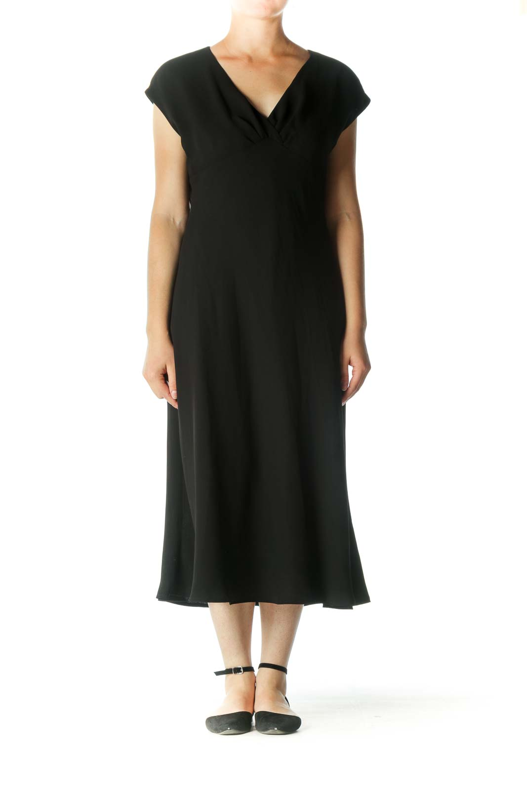 Black V-Neck Cap Sleeves Evening Dress