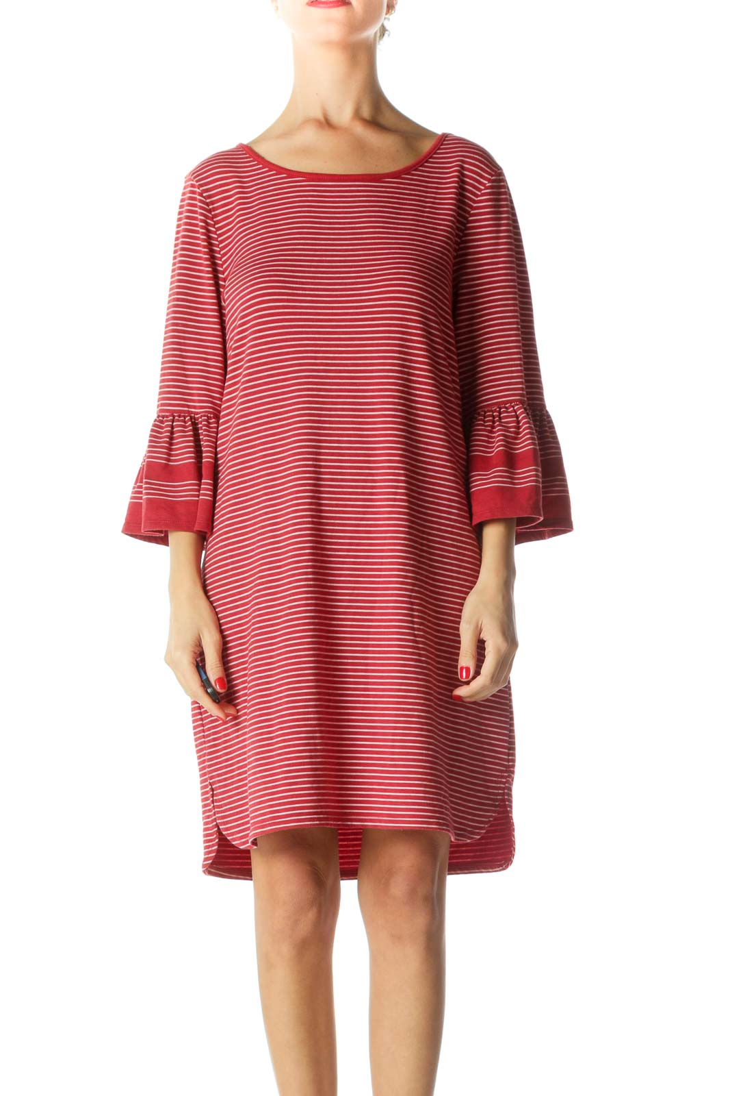Red White Flared Sleeves Jersey-Knit Dress