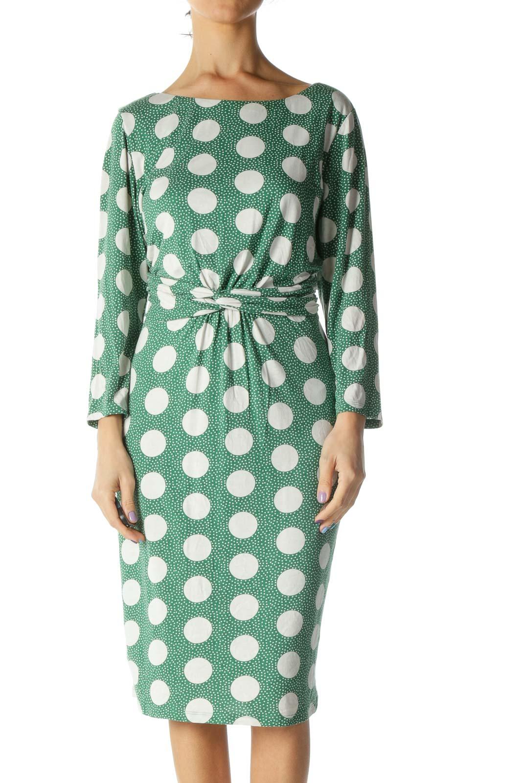 Green White Polka Dot Dress