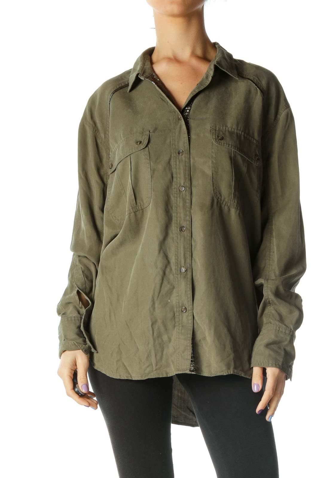 Green Metallized Tencel Shirt