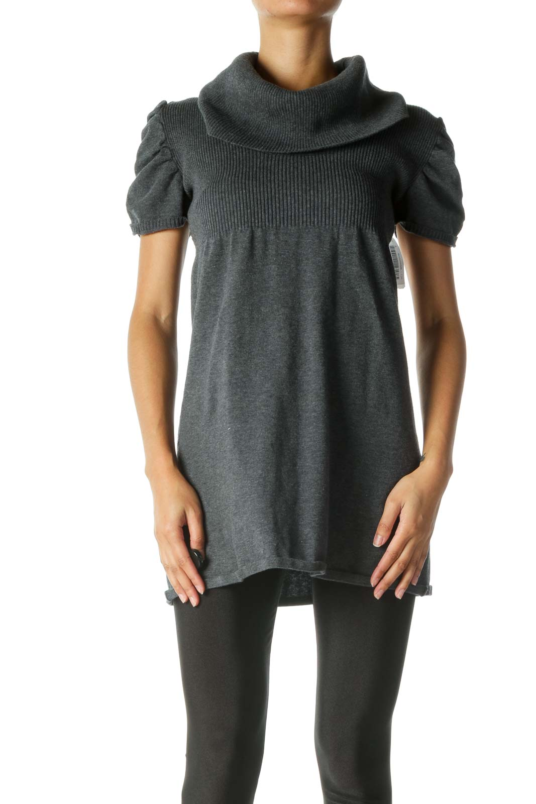 Gray Sweater-Knit Short Sleeve Dress