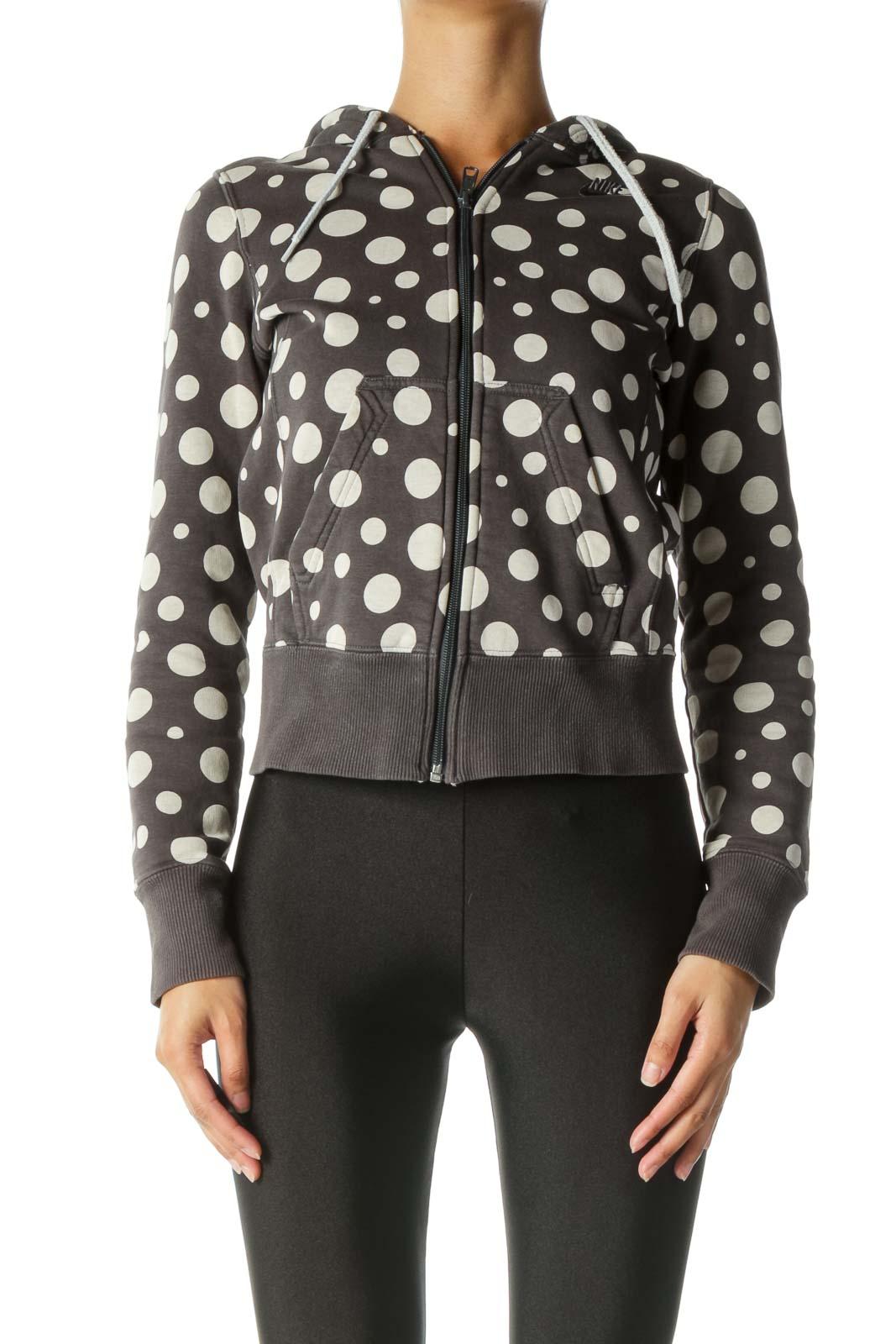 Gray and Cream Polka-Dot Jacket