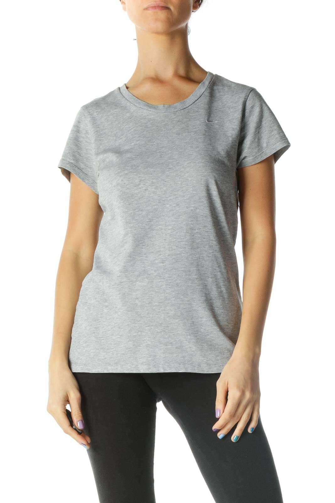 Gray Embroidered Nike T-Shirt