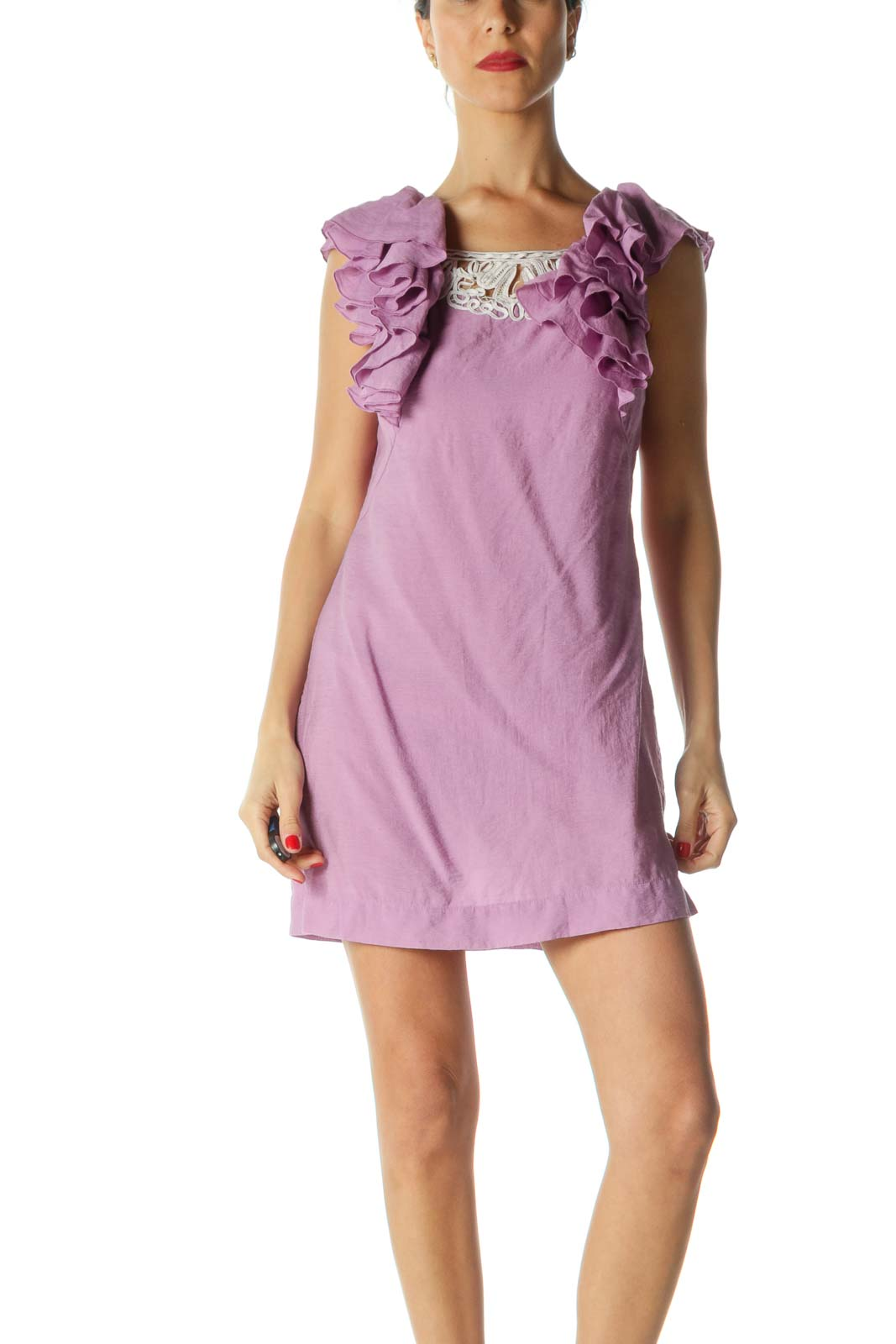 Purple White Ruffled Knit Detail Day Dress