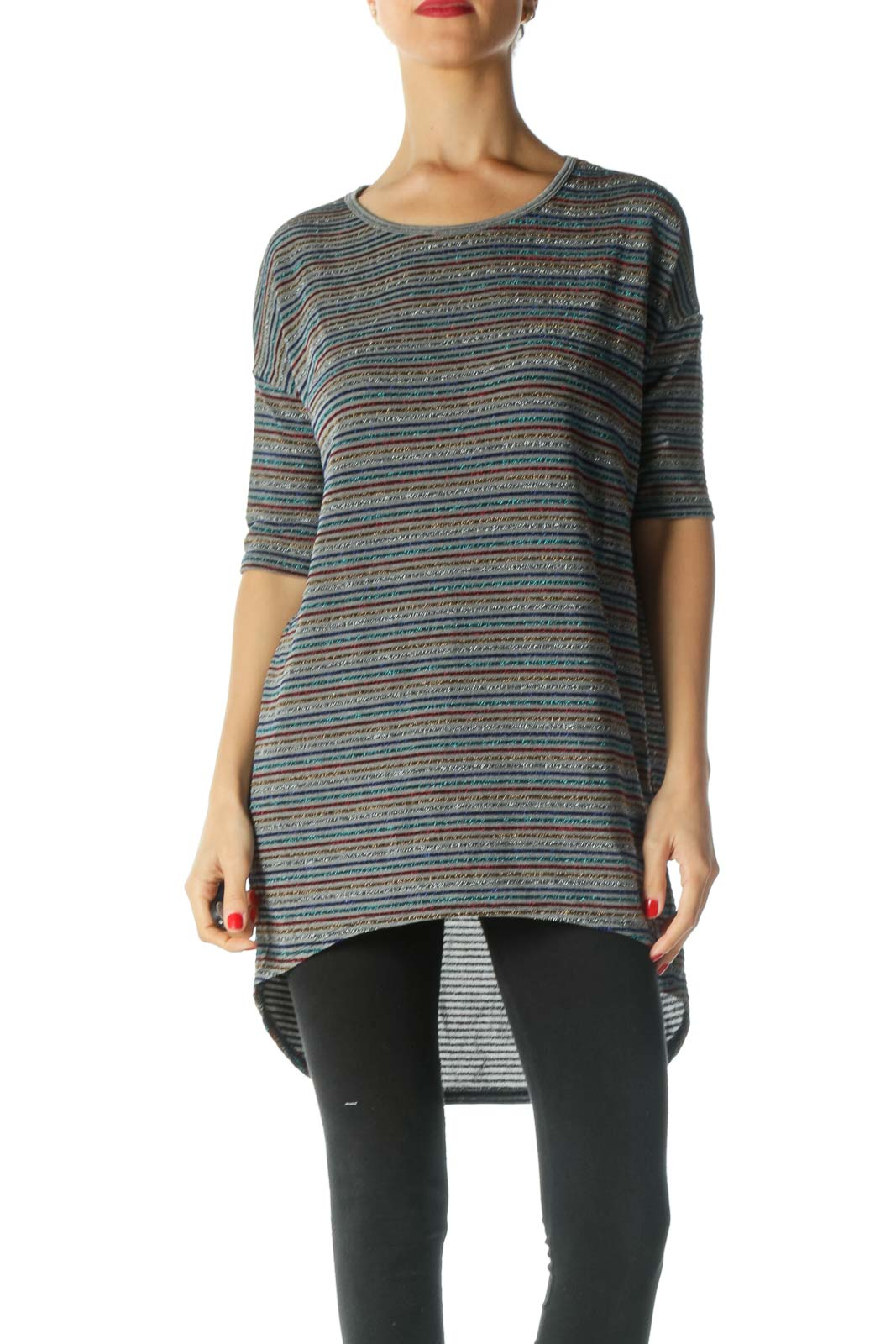 Multicolored Striped Textured T-Shirt