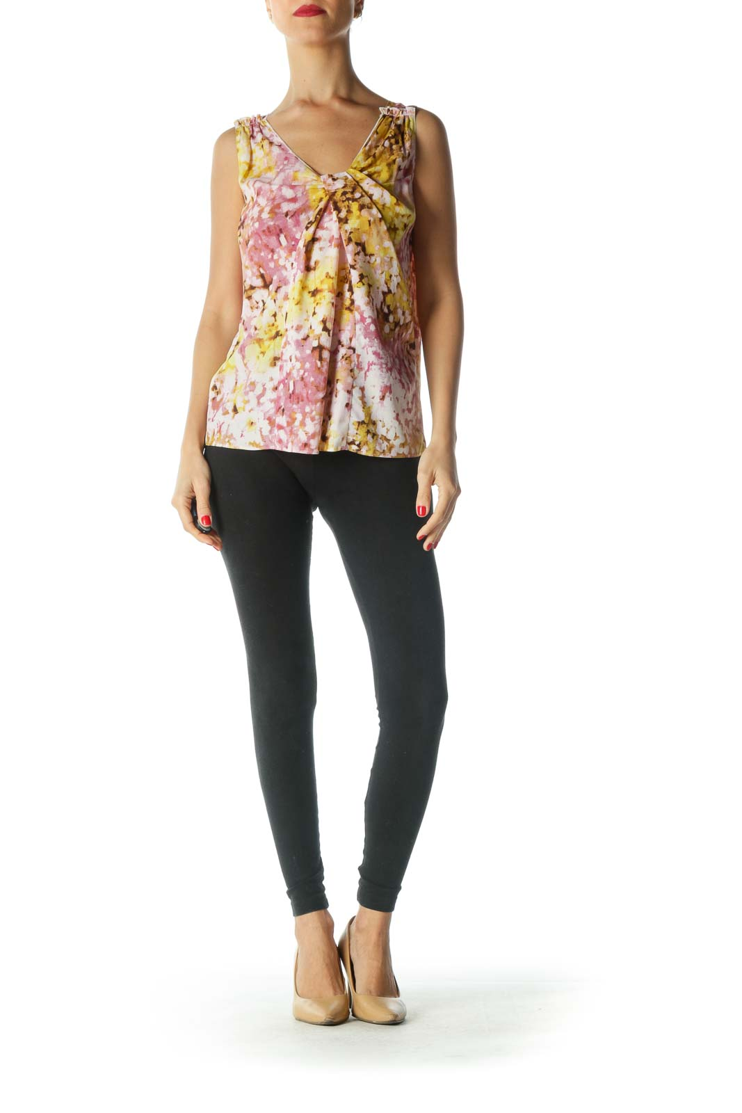 Pink Yellow V-Neck Print Tank Top