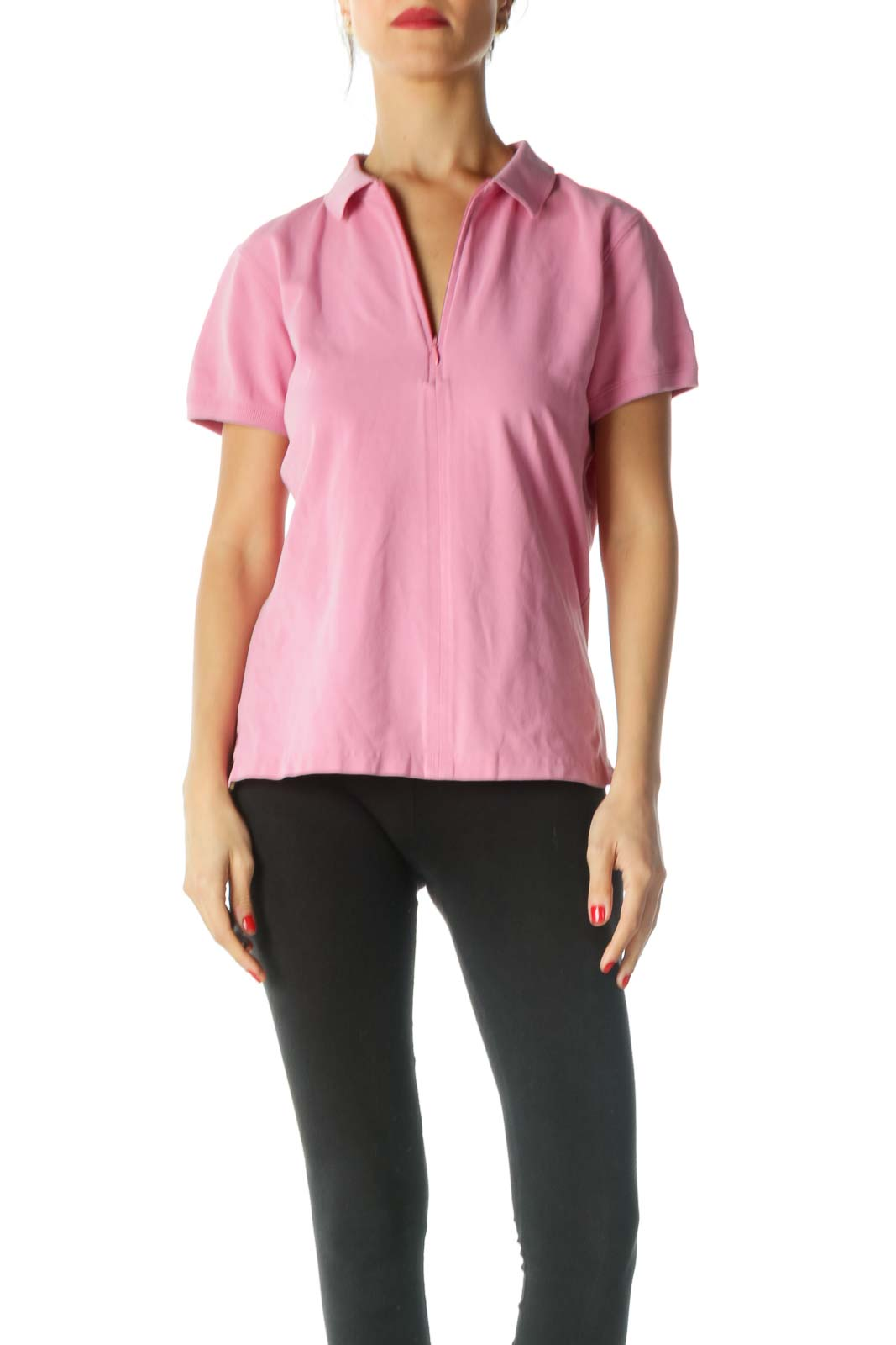 Pink Yellow Zippered Polo Shirt