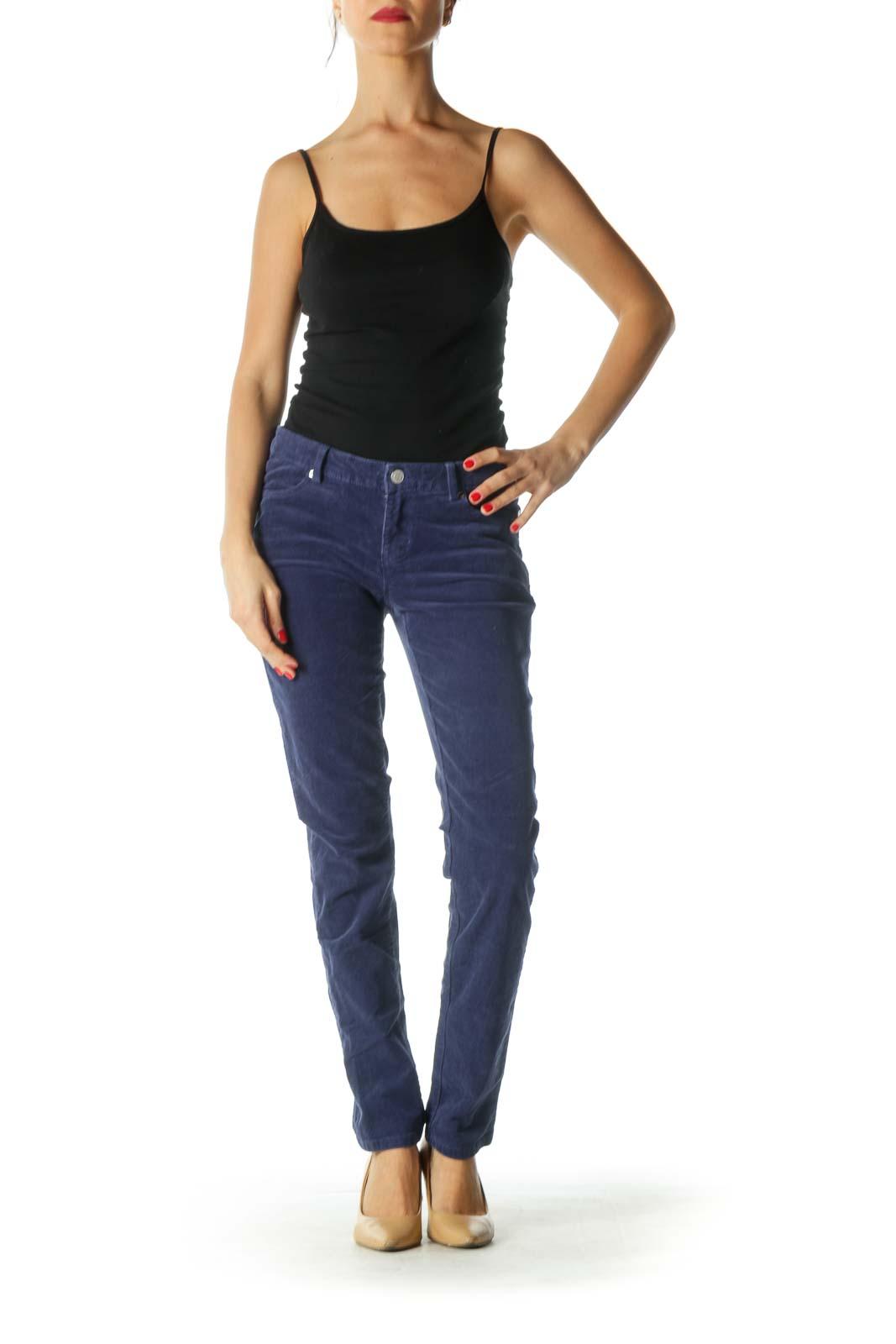 Blue Corduroy Skinny Pants