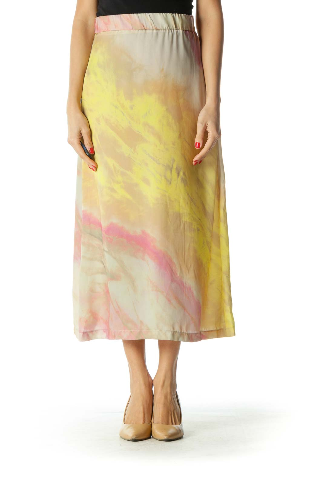 Brown Pink and Yellow Flared Skirt