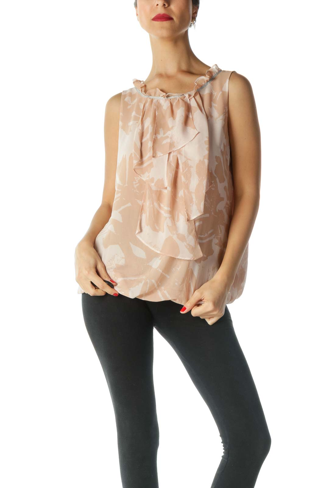 Pink Silver-Trim Flared Printed Blouse