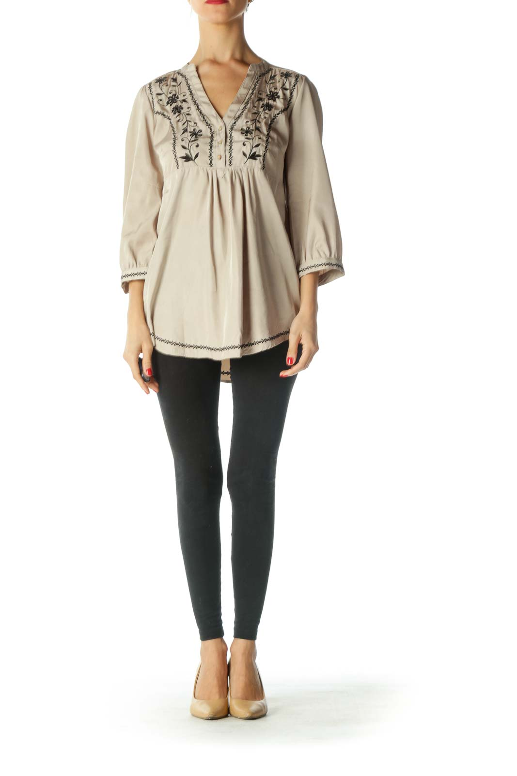 Beige Black Embroidered Shiny Tunic Top