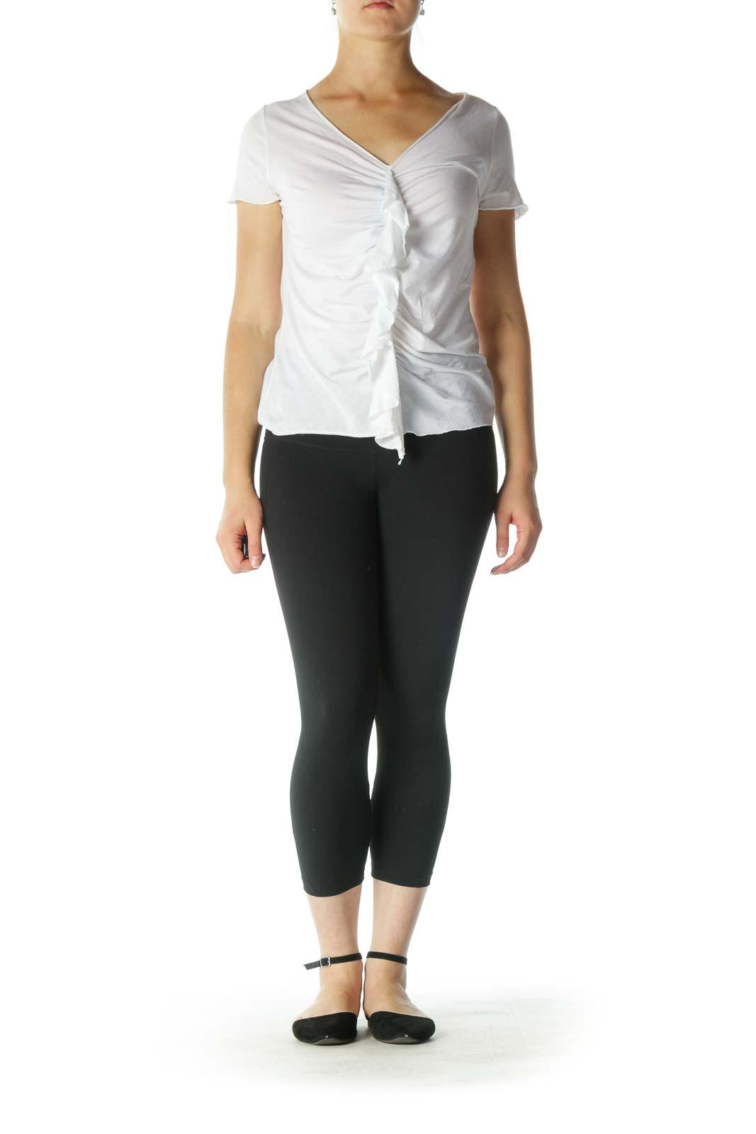 White Ruffle V-Neck T-Shirt