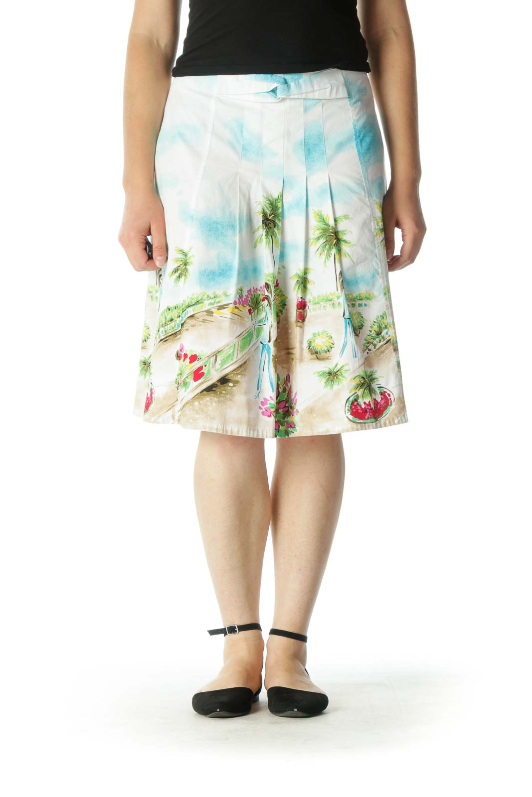 White Multicolor Print A-Line Skirt