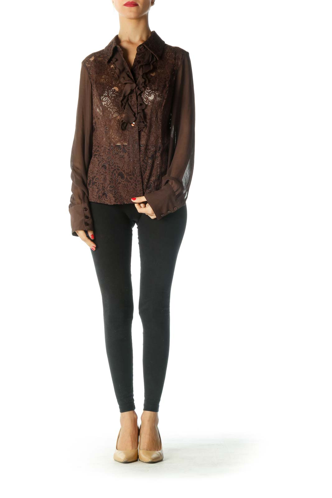 Brown Ruffle Long Sleeve Shirt