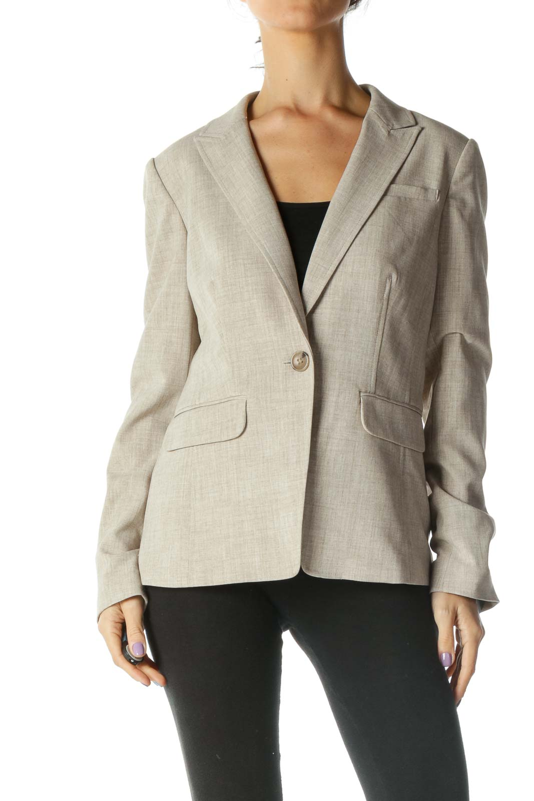 Beige Structured Blazer