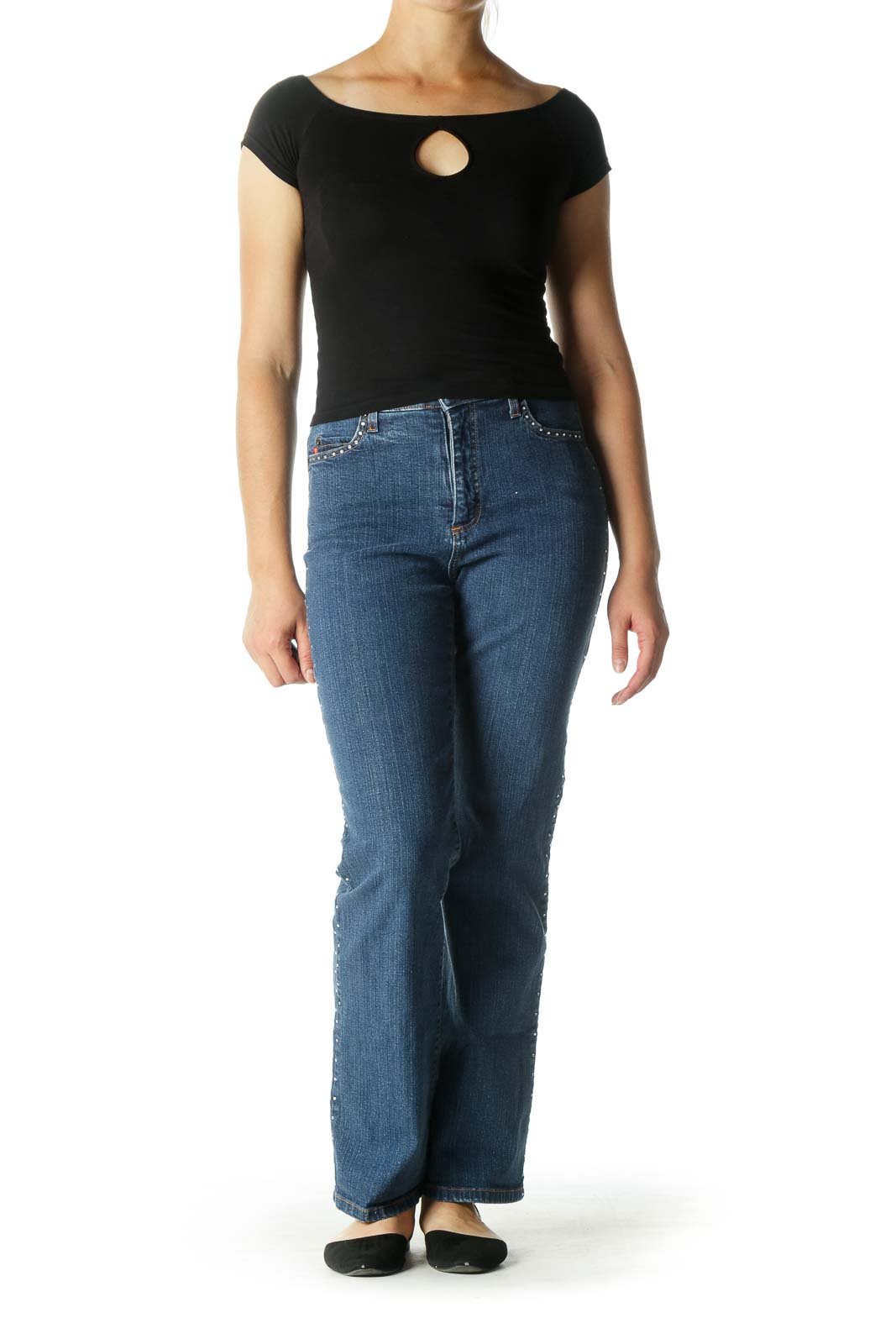 Blue High Waisted Flared Jeans with Rhinestones