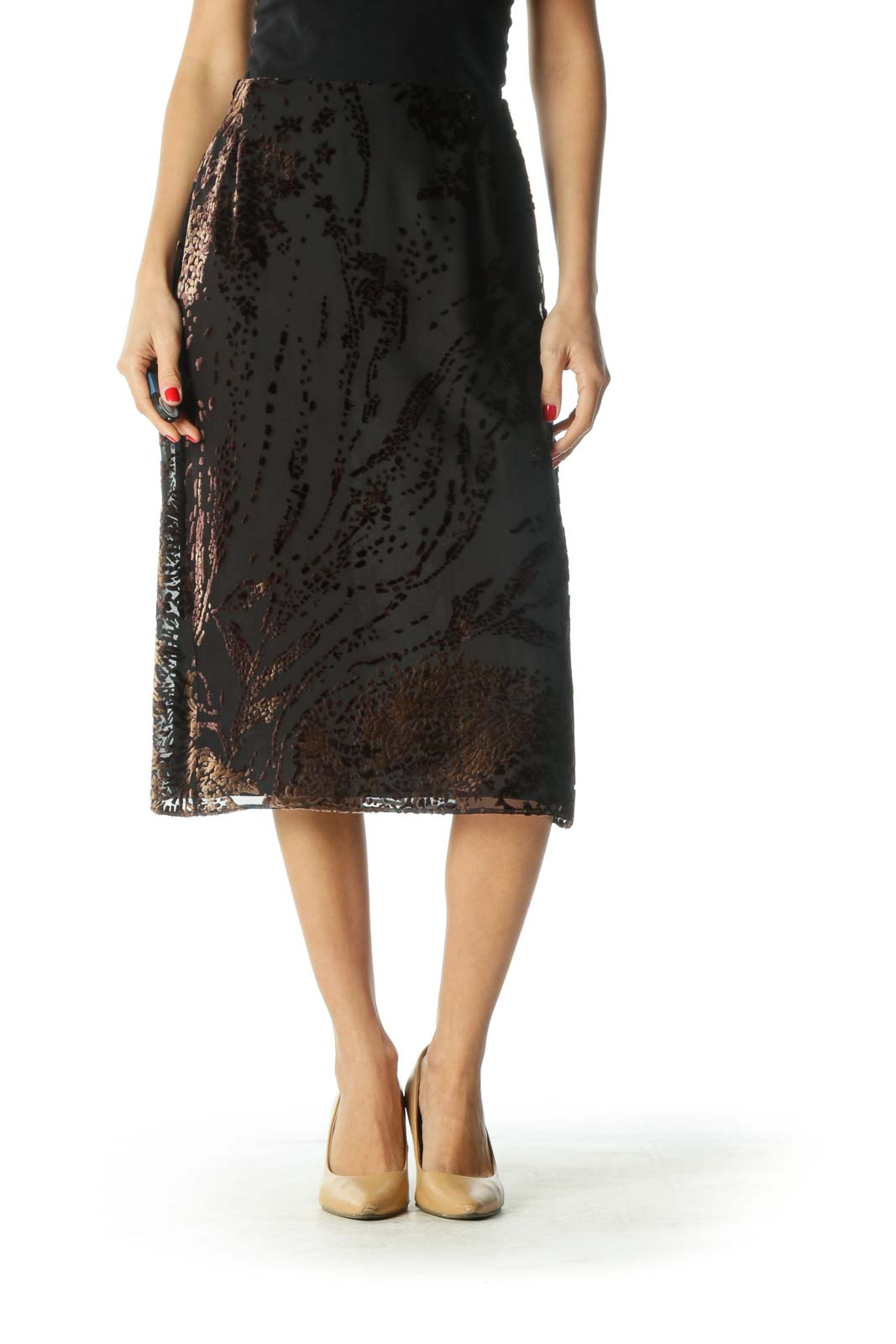 Black and Brown Velvet A-Line Skirt