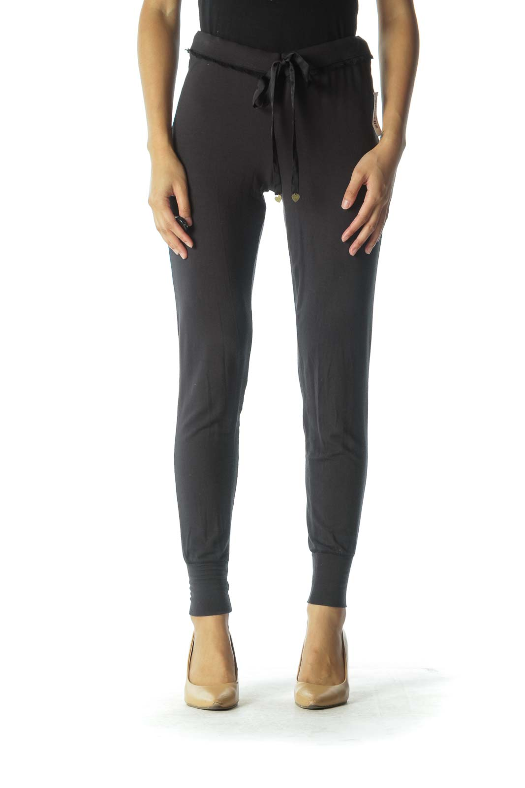 Gray Light-weight Sweat Pants with Lace Trim
