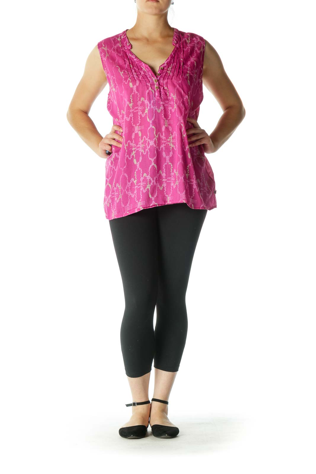 Pink and Cream Print Sleeveless Tunic