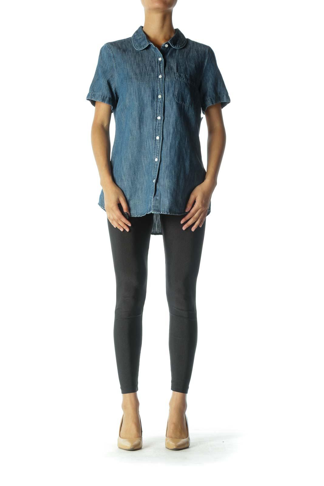 Blue Denim Button Down Short Sleeve Shirt