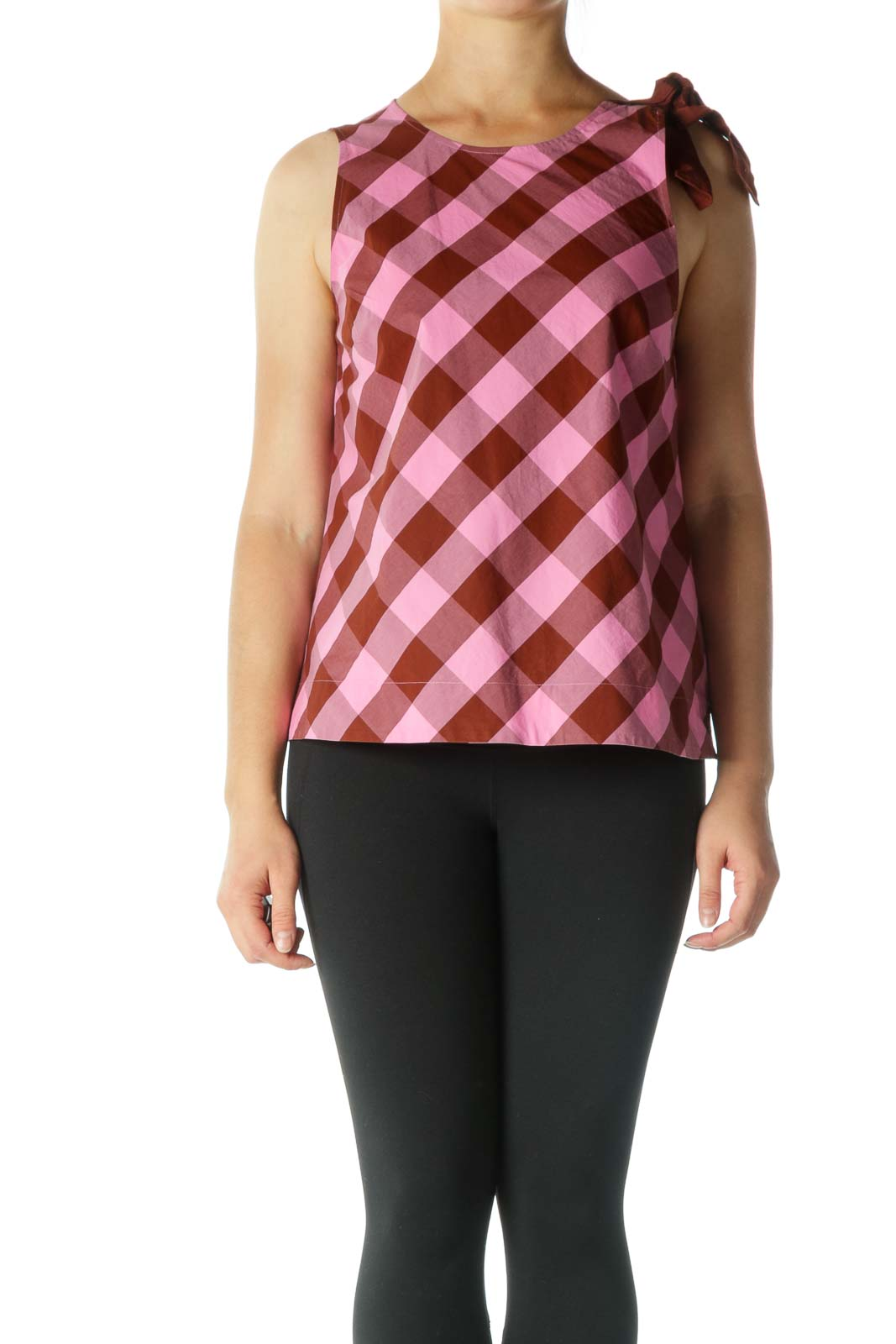 Brown and Pink Plaid Sleeveless Tunic