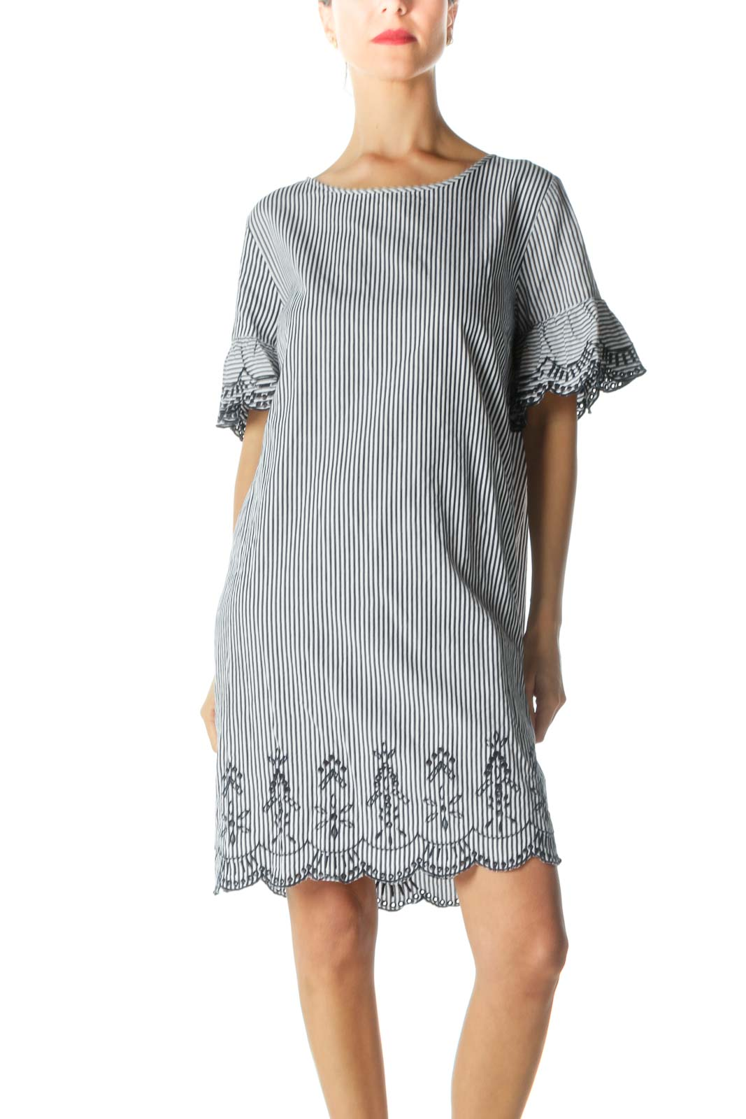 Blue and White Striped Shift Dress with Embroidered Bell-Sleeves