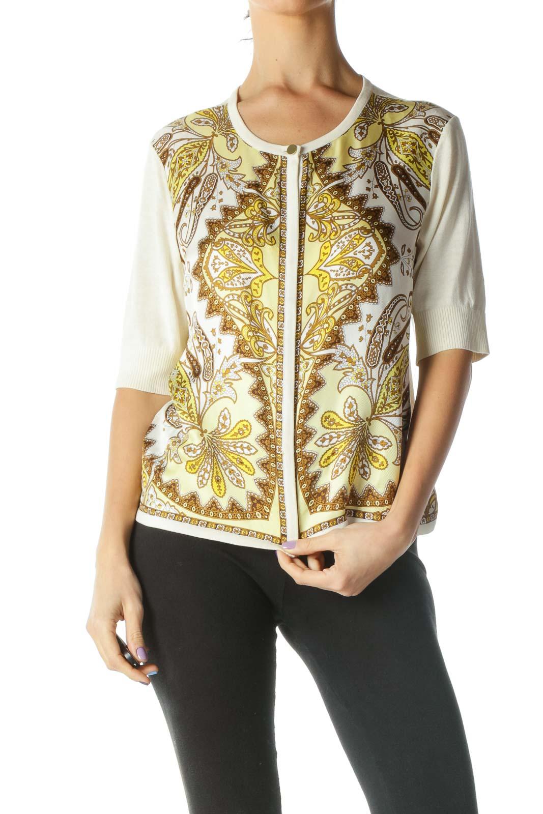 Beige Printed Silk Cardigan
