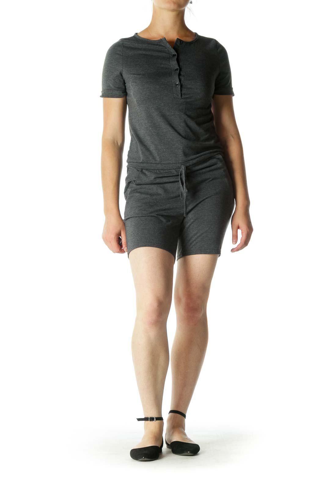 Gray Short Sleeve Romper