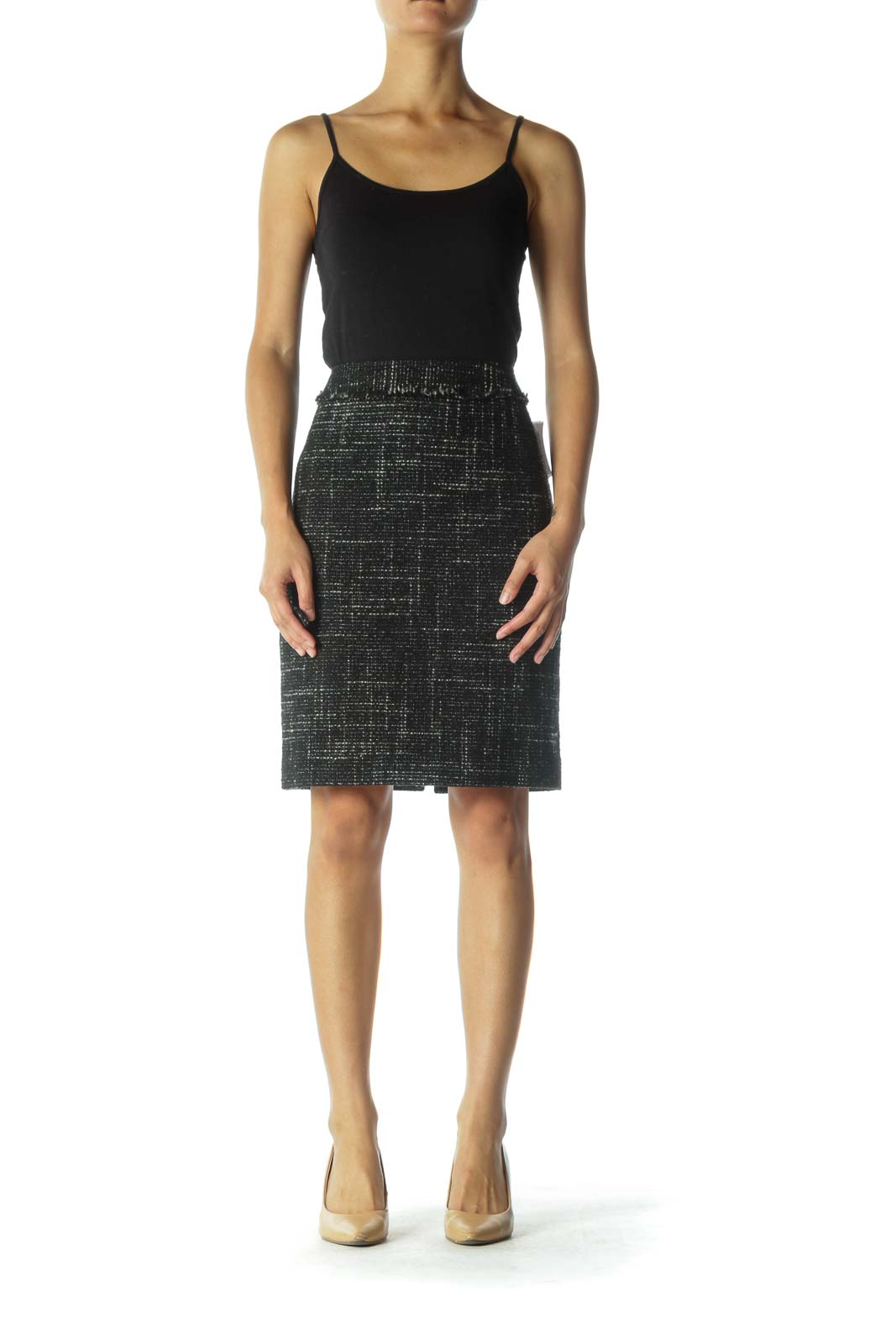 Black and Gray Knit Pencil Skirt