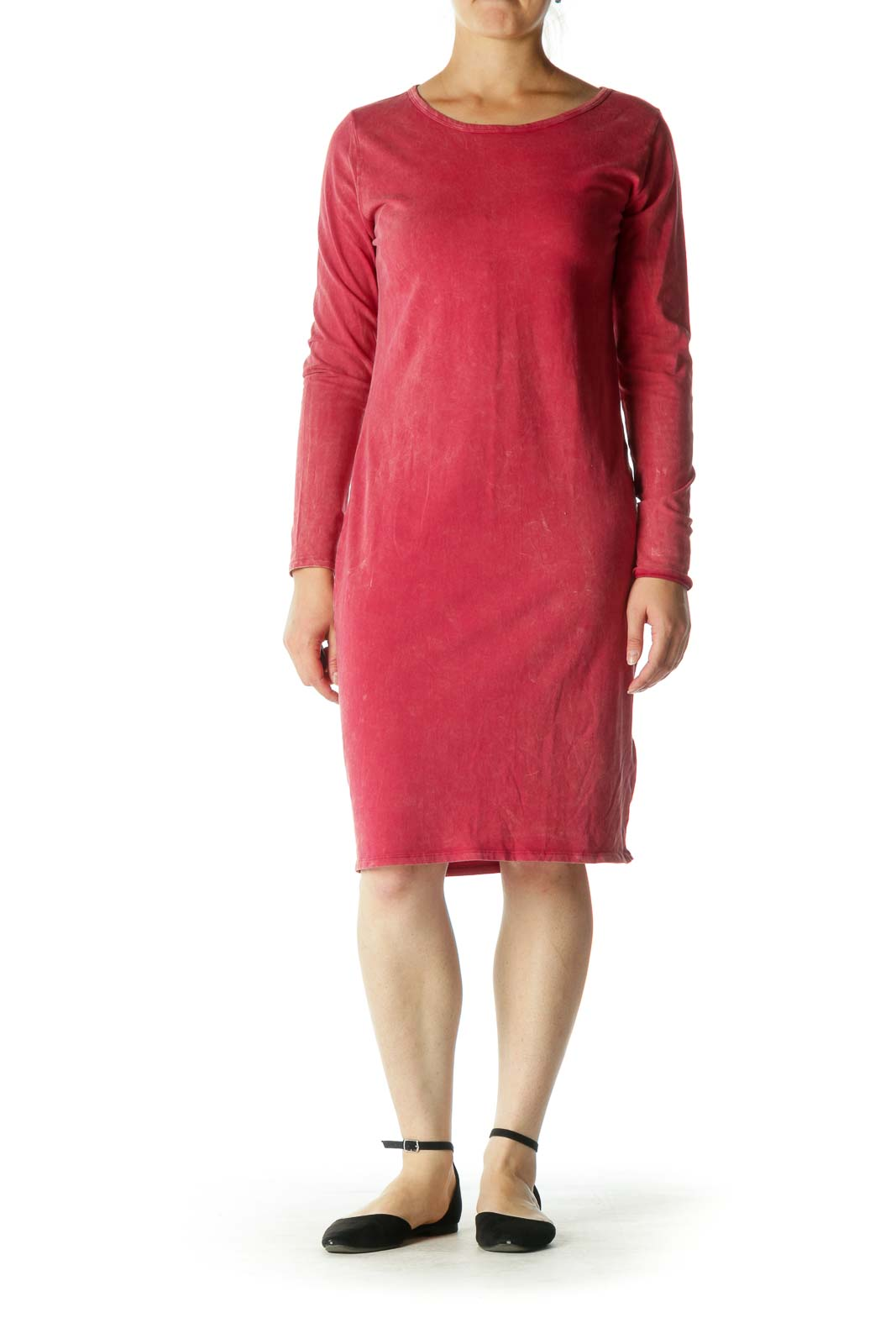 Red Long Sleeve Midi Dress