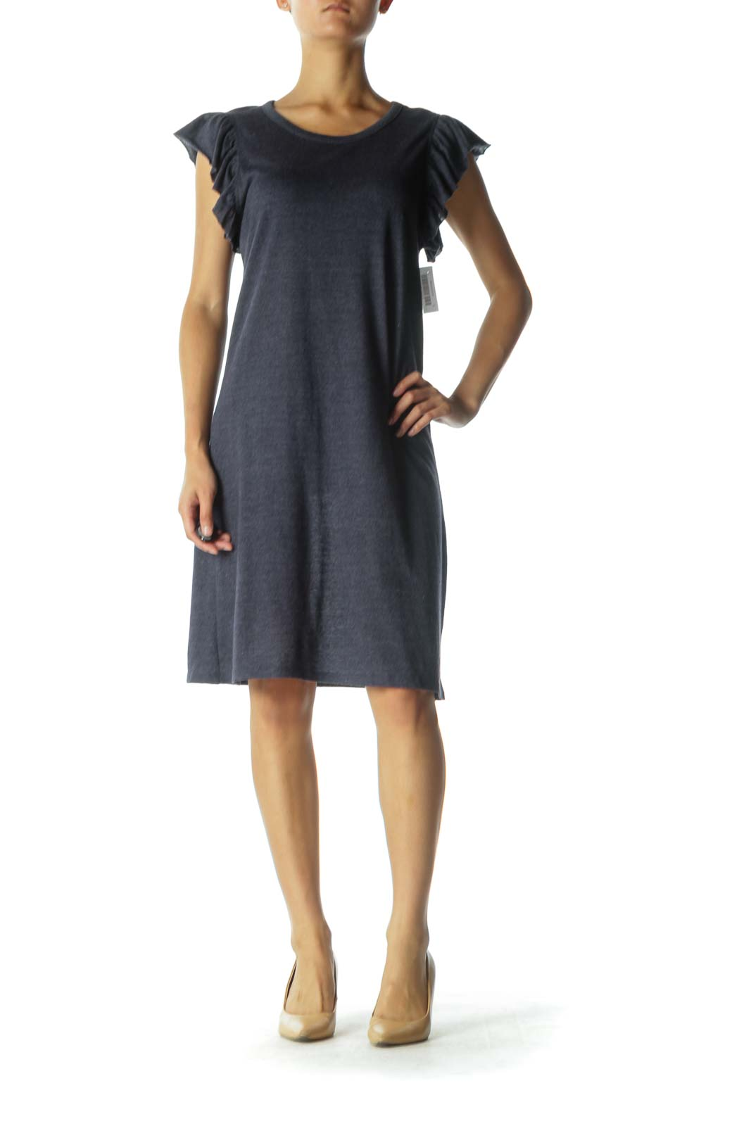 Blue Day Dress with Ruffled Sleeves