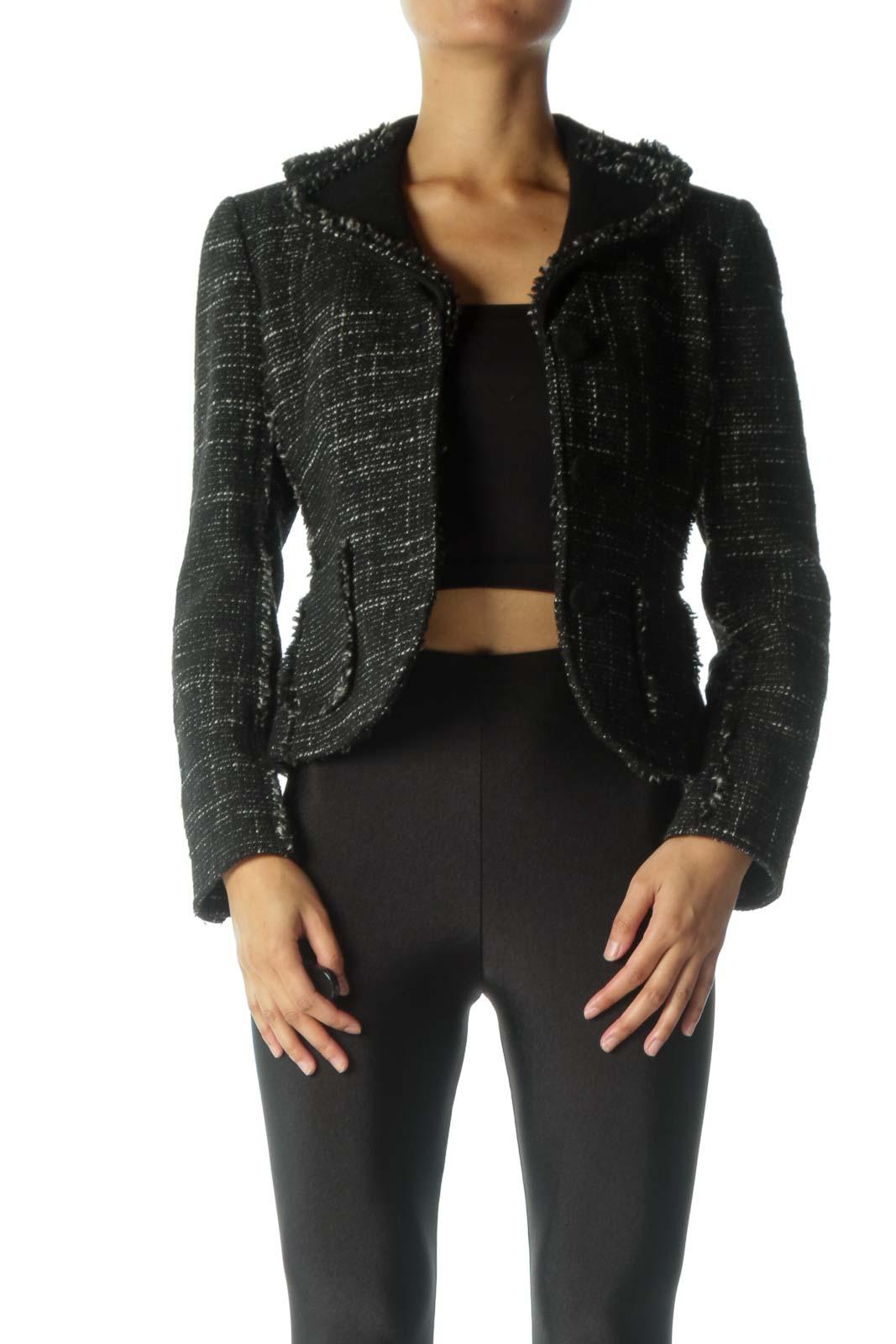 Black and White Knit Blazer