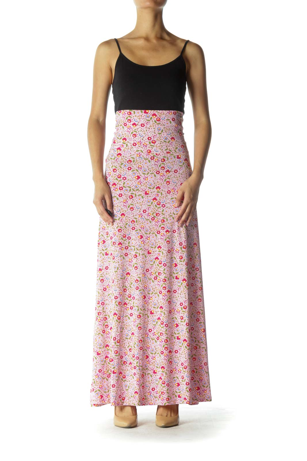 Pink Multicolor Floral Print Maxi Skirt