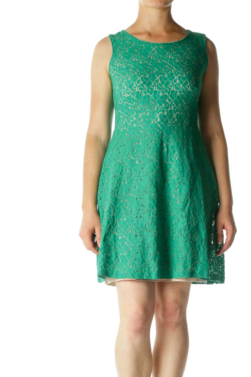 Green Lace Cocktail Dress with Cut-Out Back