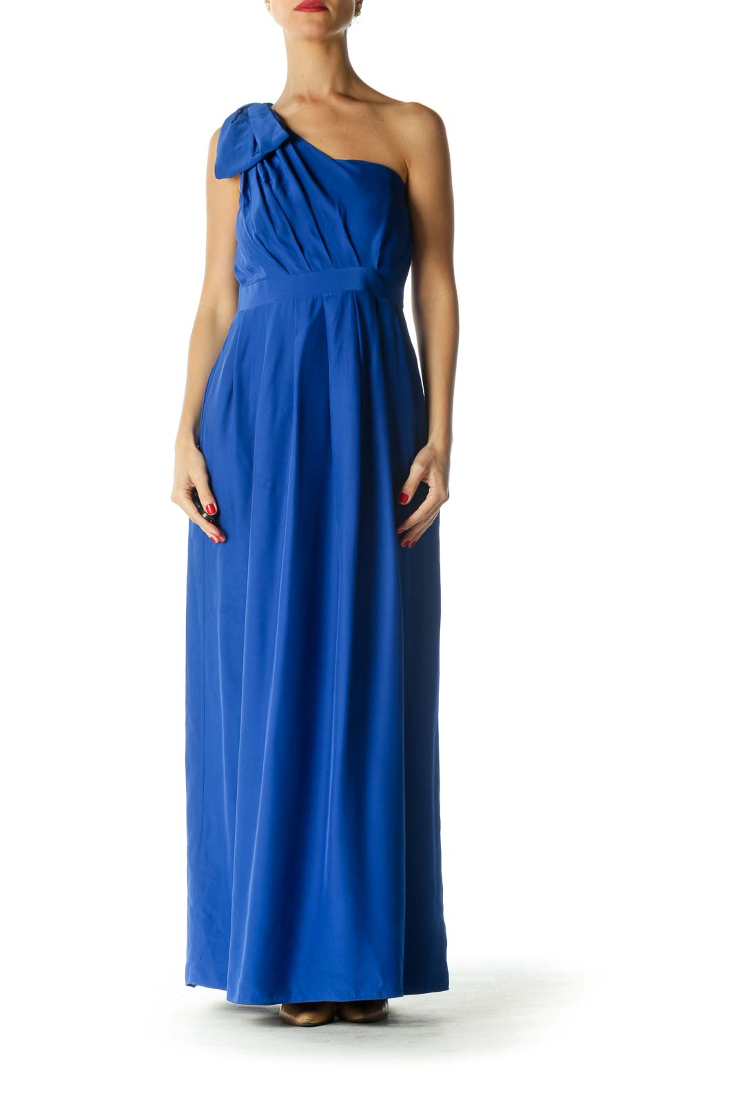 Blue 100% Silk One-Shoulder Bow Detail Dress