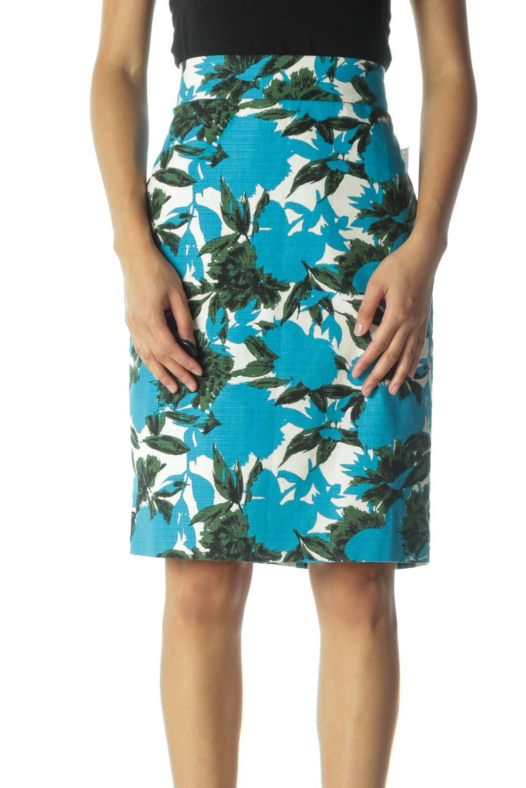 Green and Teal Floral Print Pencil Skirt