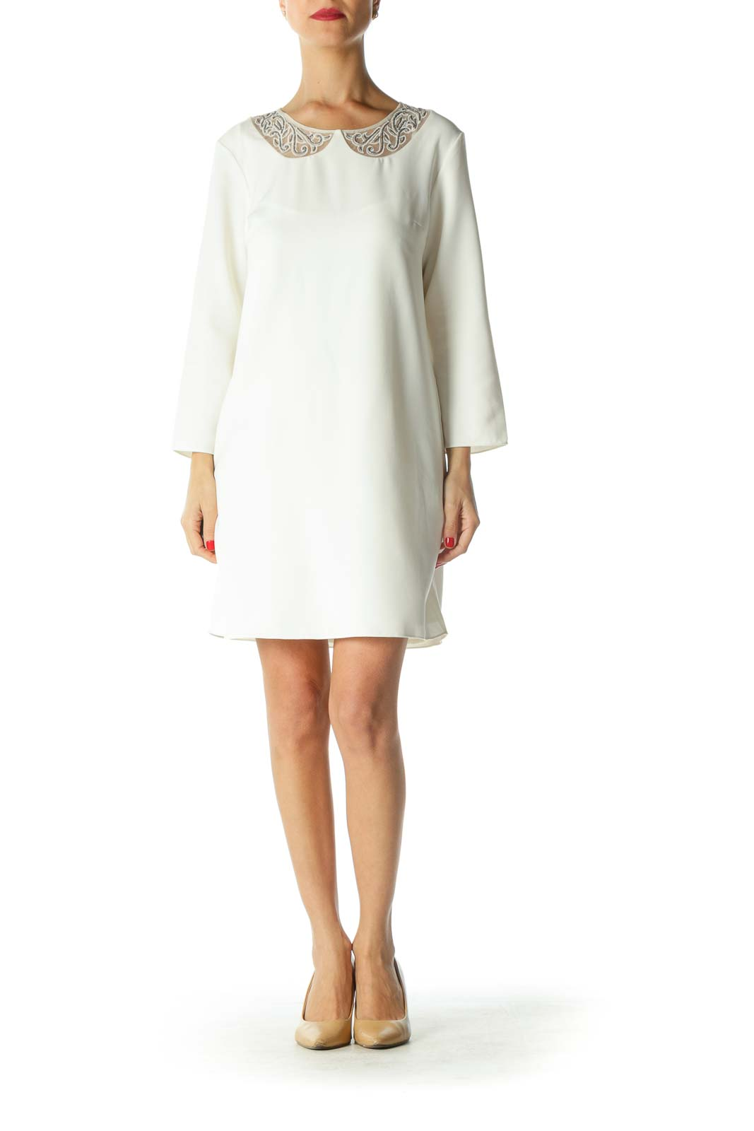 White Beaded Neckline 3/4 Sleeve Dress