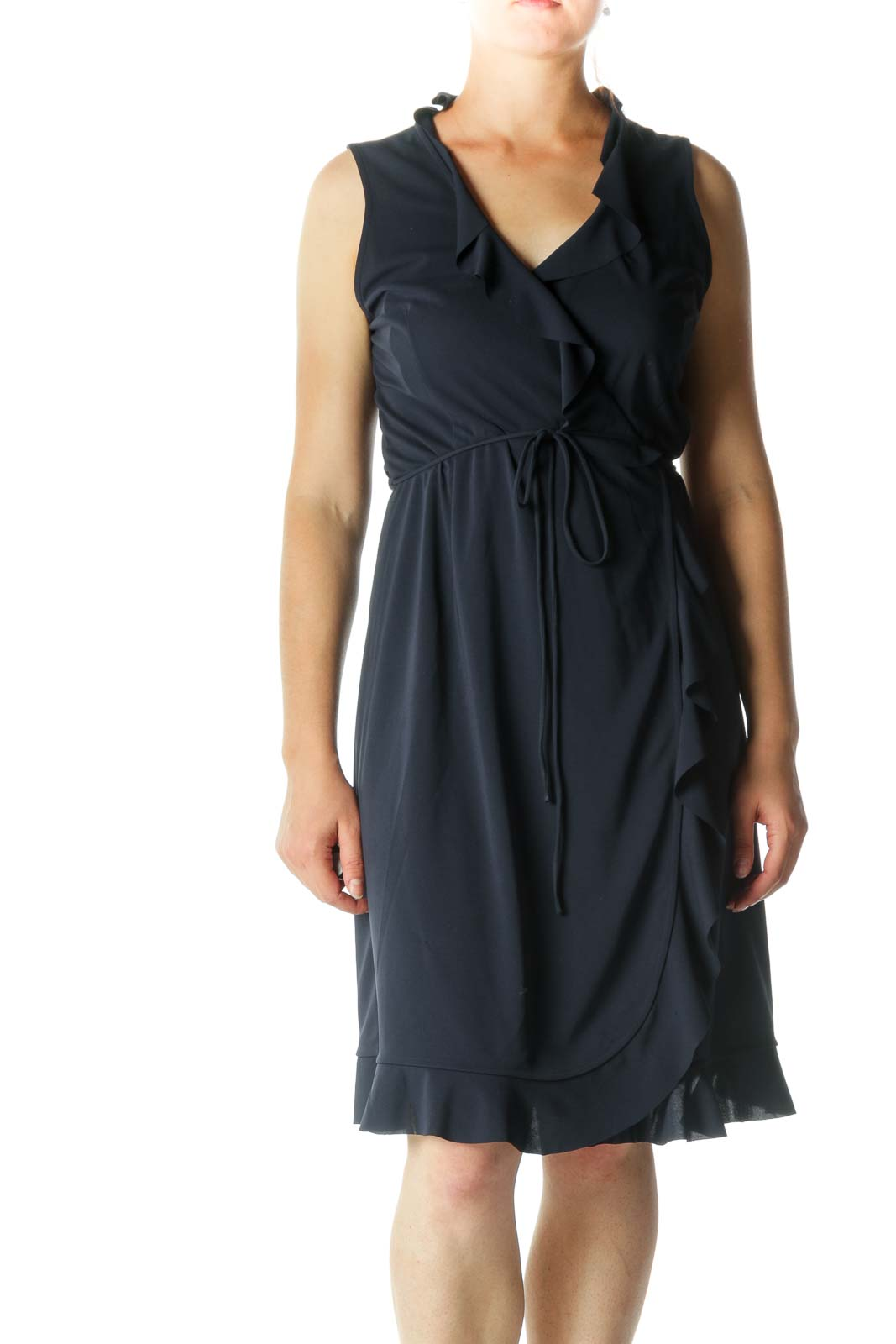 Blue Flared Detail Wrap Dress