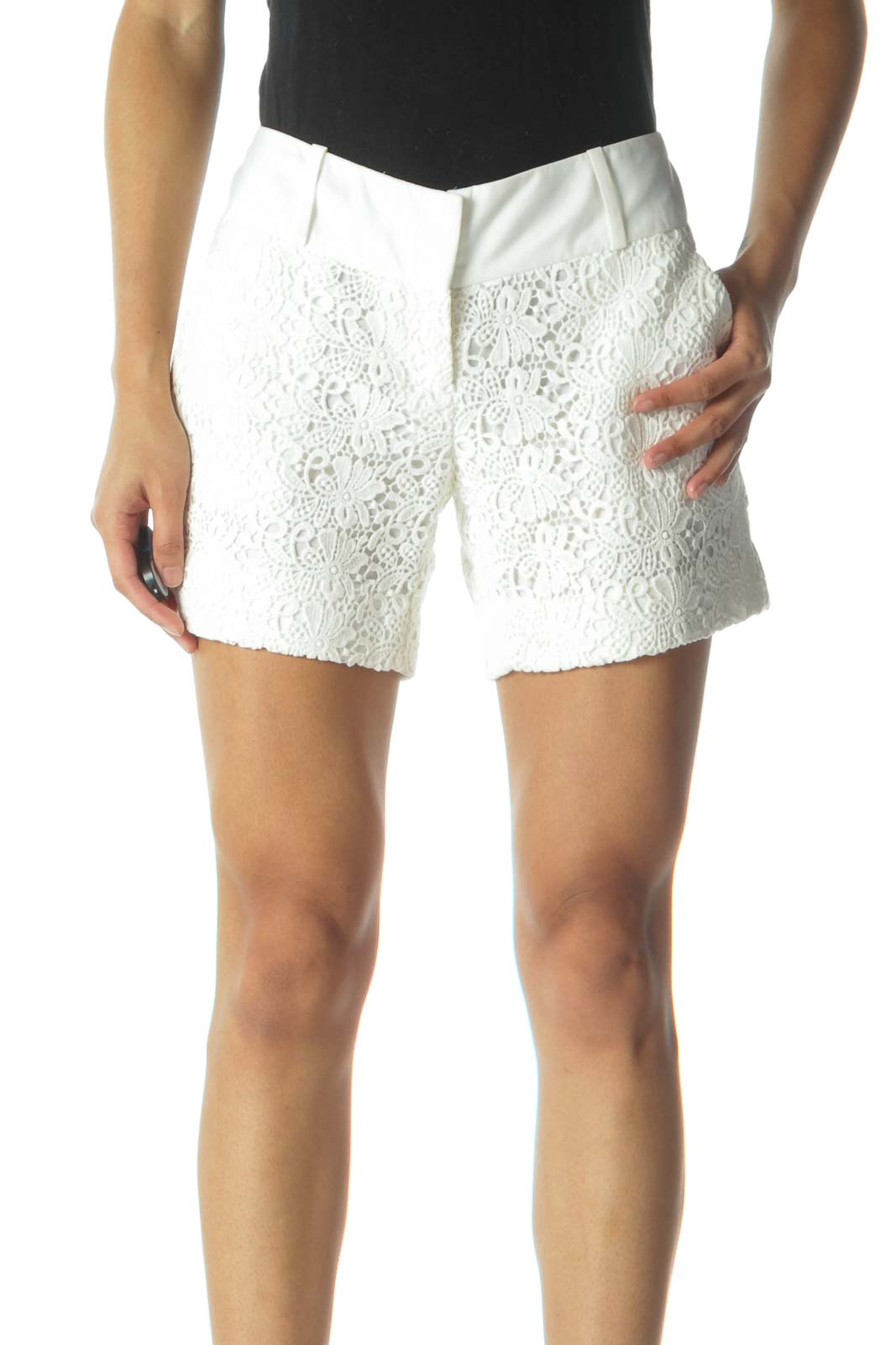 Cream Floral Embroidered Lace Shorts