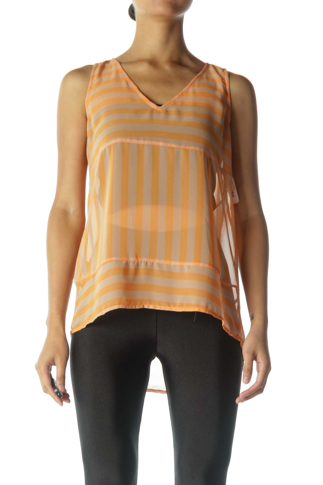 Orange Striped Sheer Tank Top