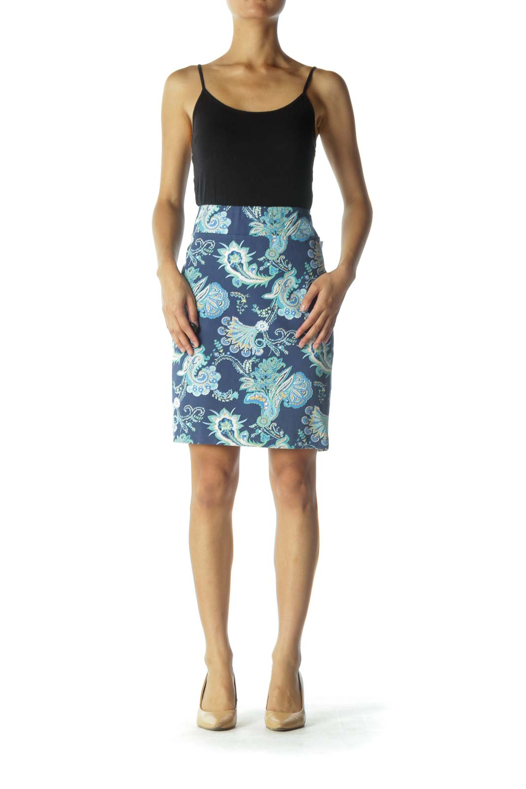 Blue and Green Paisley Print Pencil Skirt