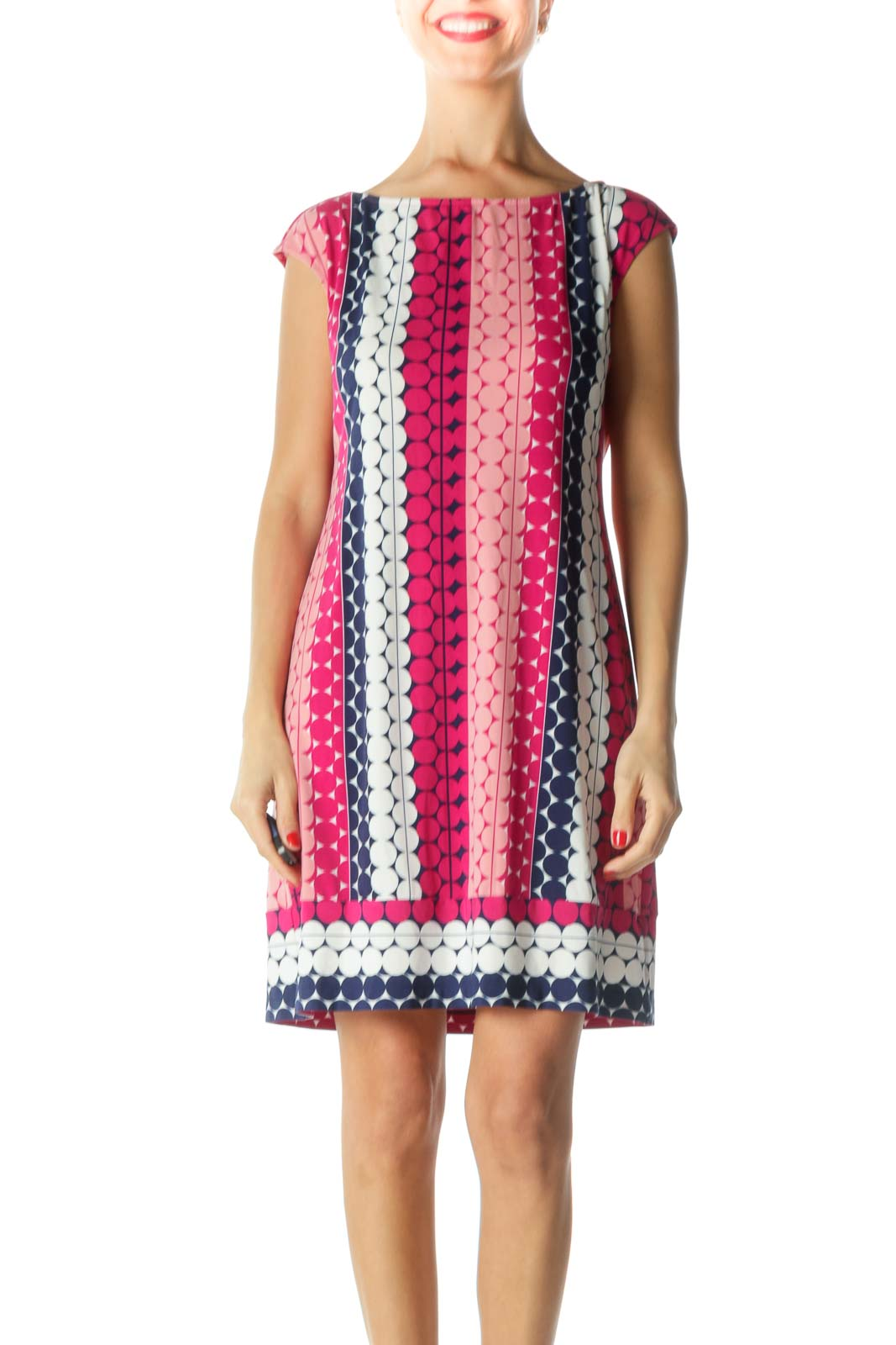 Pink Blue White Geometric Print Dress