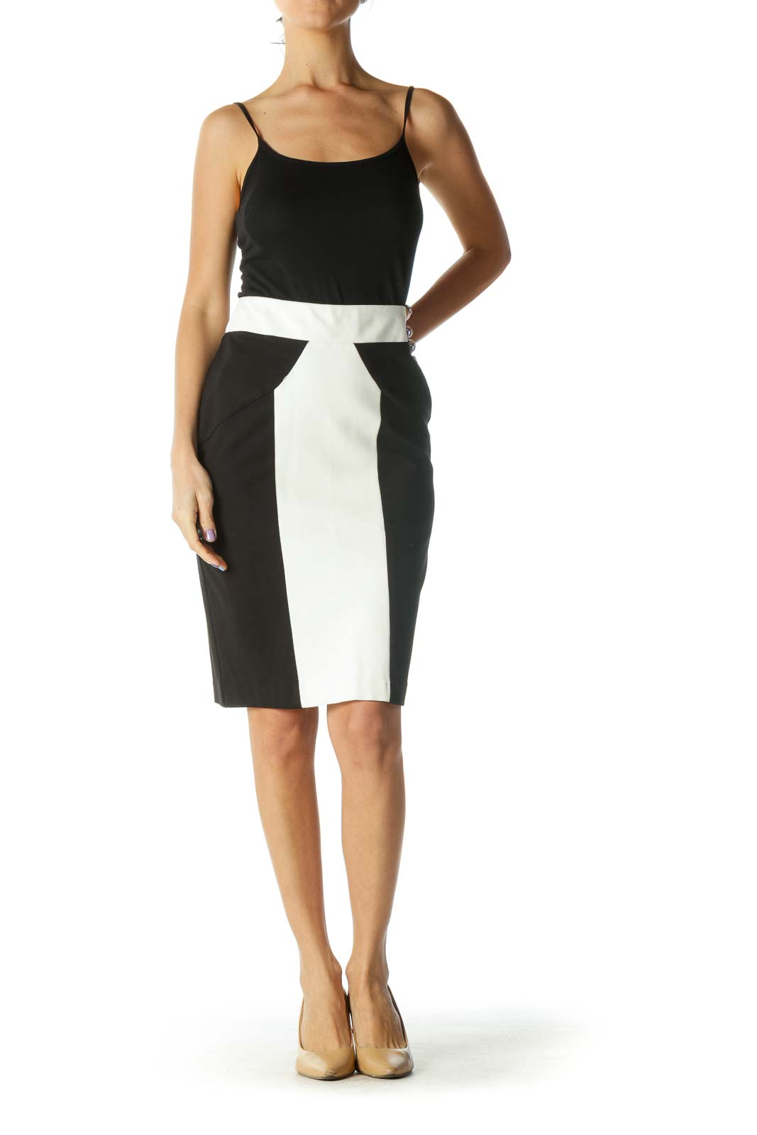 Black and White Color Block Pencil Skirt