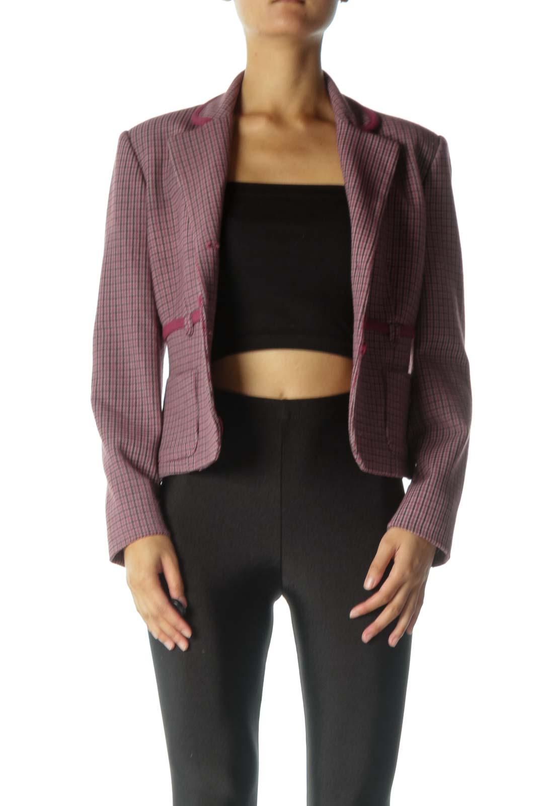 Burgundy Houndstooth Print Suit Jacket