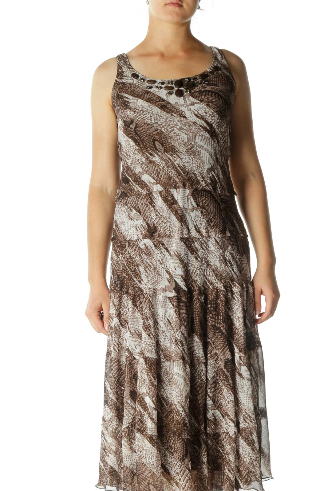 Brown Print Maxi Dress
