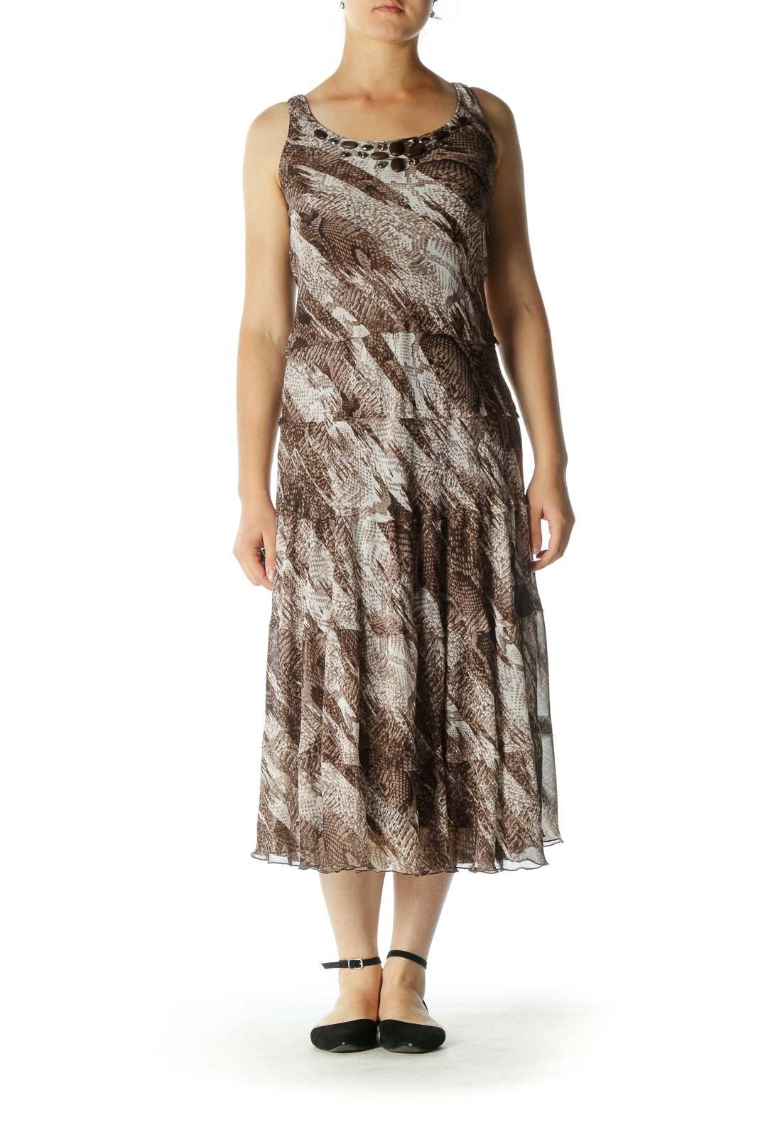 Brown Print Maxi Dress